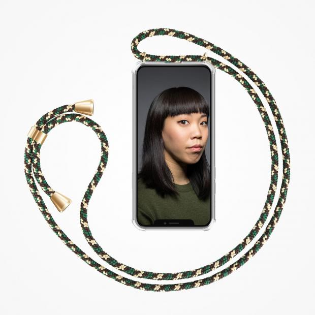 ZhinkArts Phone Necklace / Handykette - Green Camouflage