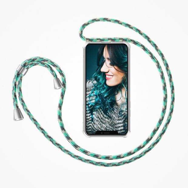 ZhinkArts Phone Necklace / Handykette - Mint Camouflage